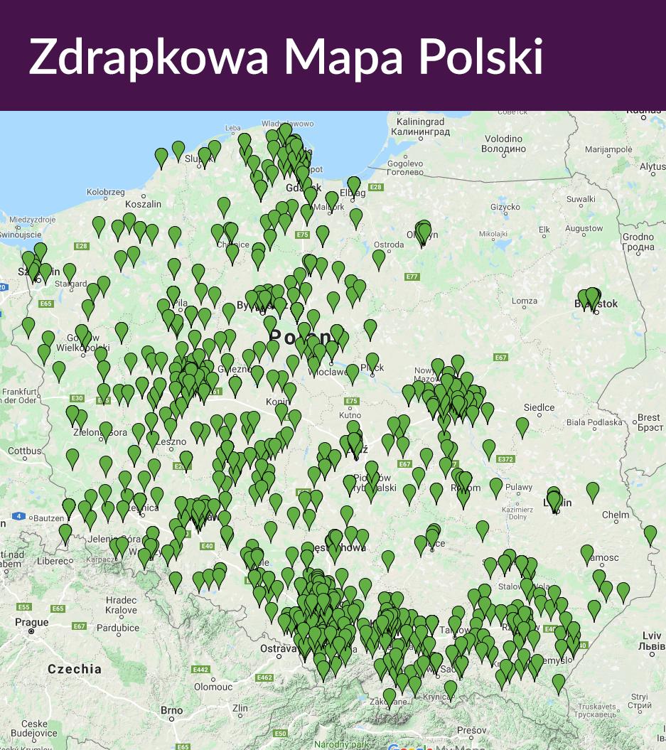 Mapa Polski z zielonymi markerami oznaczającymi miejsca, w których została zakupiona Zdrapka Wielkopostna.